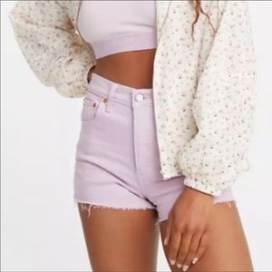 Levi's Women Chalky Lavender Frost Ribcage Shorts